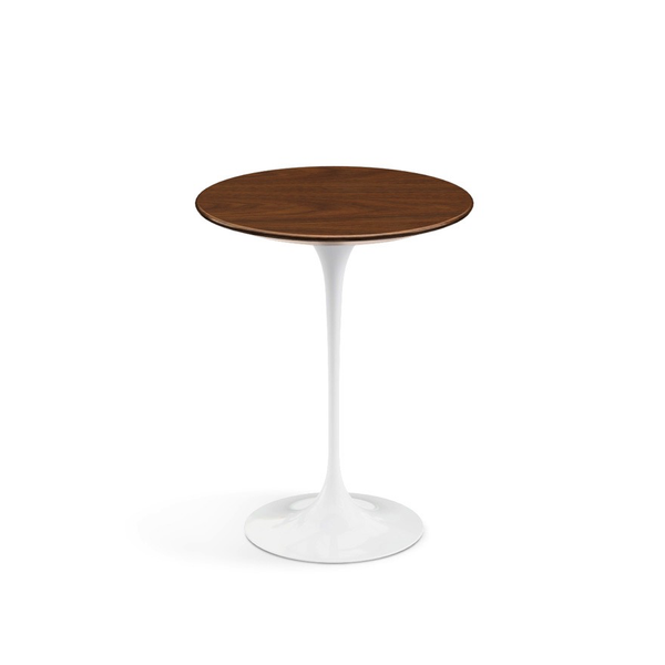 "Knoll - Saarinen Side Table 16"" Round - Light Walnut / White - Lekker Home"