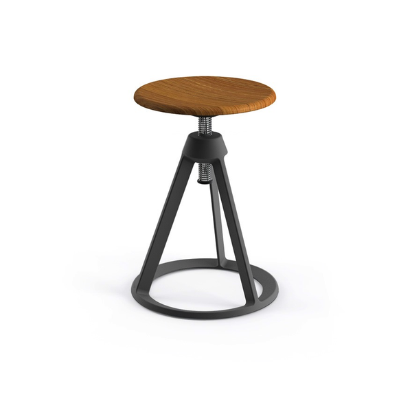 Knoll - Piton™ Adjustable Height Stool - Medium Metallic Grey / Natural Teak - Lekker Home
