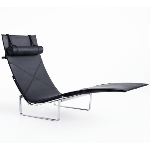 Fritz Hansen - PK24™ Chaise - Classic Leather Black / Wicker - Lekker Home