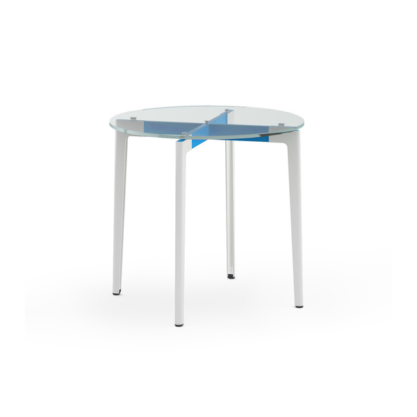 "Knoll - Stromborg Table Round 32"" - Blue / Clear Glass - Lekker Home"