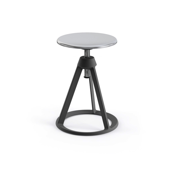 Knoll - Piton™ Adjustable Height Stool - Medium Metallic Grey / Polished Aluminum - Lekker Home