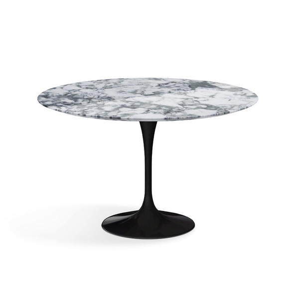 "Knoll - Saarinen Dining Table 47"" Round - Arabescato Coated Marble / Black - Lekker Home"