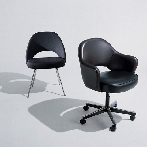 Knoll - Saarinen Executive Chair with Swivel Base - Classic Boucle Neutral / Armless Chair - Lekker Home