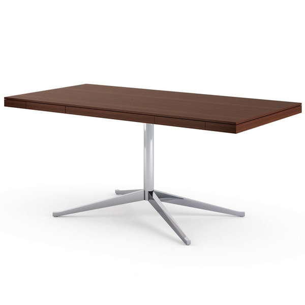 Knoll - Florence Knoll Executive Desk - Polished Chrome / Medium Brown Mahogany - Lekker Home