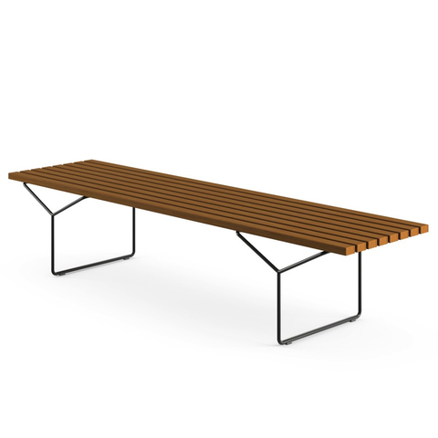 Knoll - Bertoia Bench Outdoor - White / Solid Teak - Lekker Home