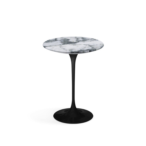 "Knoll - Saarinen Side Table 16"" Round - Arabescato Coated Marble / Black - Lekker Home"