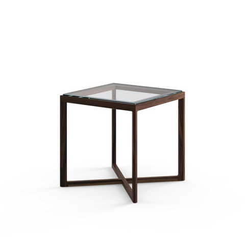 Knoll - Krusin Side Table - Small - Clear Glass / Ebonized Oak - Lekker Home