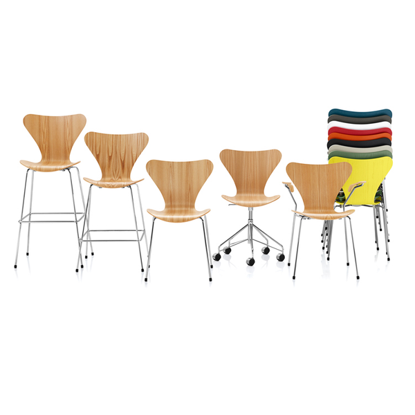 Fritz Hansen - Series 7 Stool - Wood - Lekker Home - 3