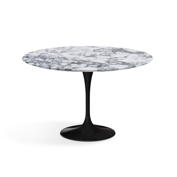 "Knoll - Saarinen Dining Table 47"" Round - Arabescato Satin Marble / Black - Lekker Home"