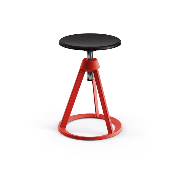 Knoll - Piton™ Adjustable Height Stool - Red Coral / Ebonized Ash - Lekker Home