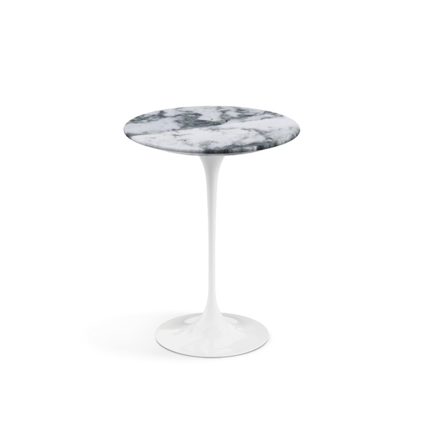 "Knoll - Saarinen Side Table 16"" Round - Arabescato Coated Marble / White - Lekker Home"