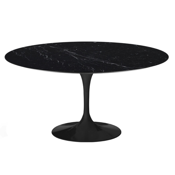 "Knoll - Saarinen Dining Table 60"" Round - Nero Marquina Coated Marble / Black - Lekker Home"