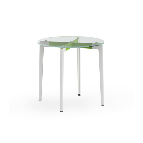 "Knoll - Stromborg Table Round 32"" - Lime Green / Clear Glass - Lekker Home"
