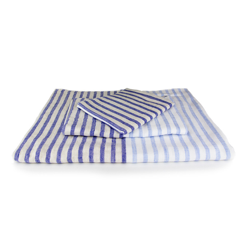 Yoshii Towel - Linen Border Towel - Navy / Bath Towel - Lekker Home