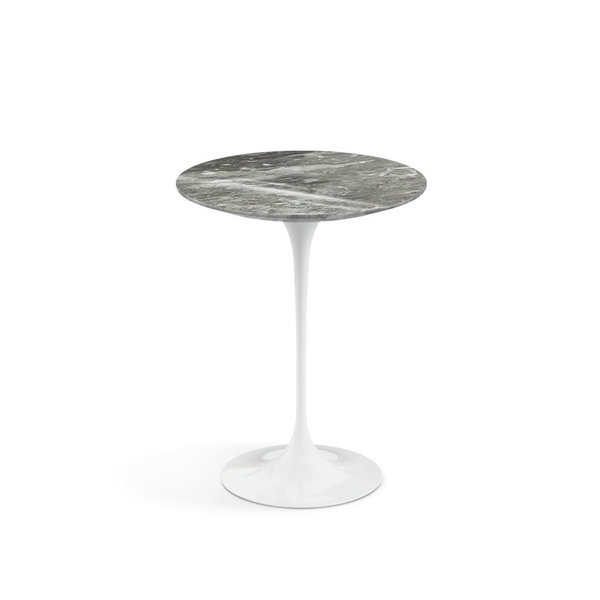 "Knoll - Saarinen Side Table 16"" Round - Grey Coated Marble / White - Lekker Home"