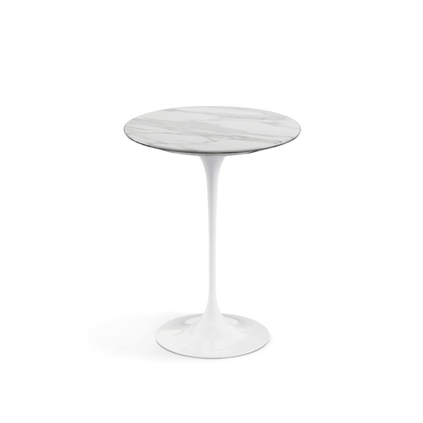 "Knoll - Saarinen Side Table 16"" Round - Carrara Satin Marble / White - Lekker Home"