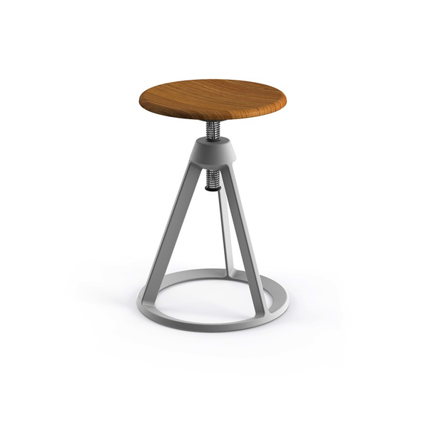 Knoll - Piton™ Adjustable Height Stool - Sterling / Natural Teak - Lekker Home