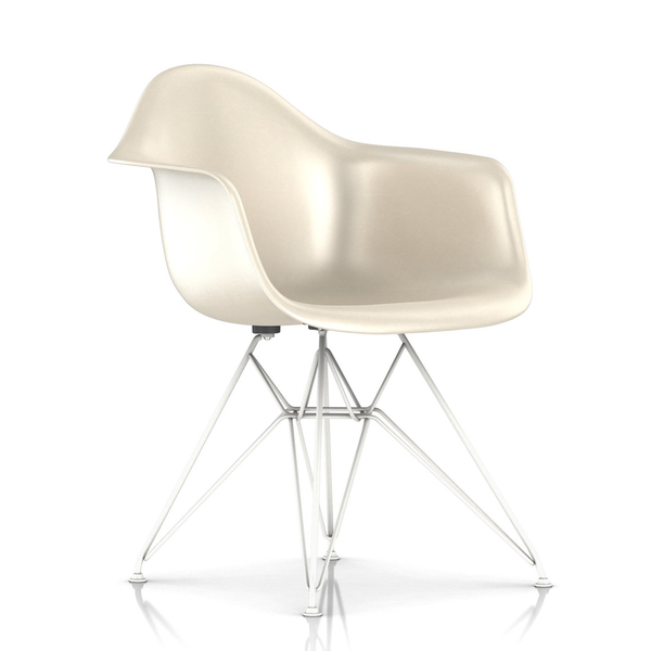 Herman Miller - Eames® Molded Fiberglass Armchair - Wire Base - Parchment / White Base - Lekker Home