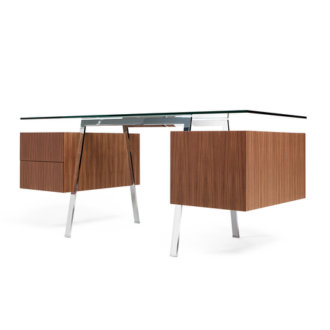 Bensen - Homework 2 Desk - Chrome Legs - White Oak / 2 Single Drawers - Lekker Home