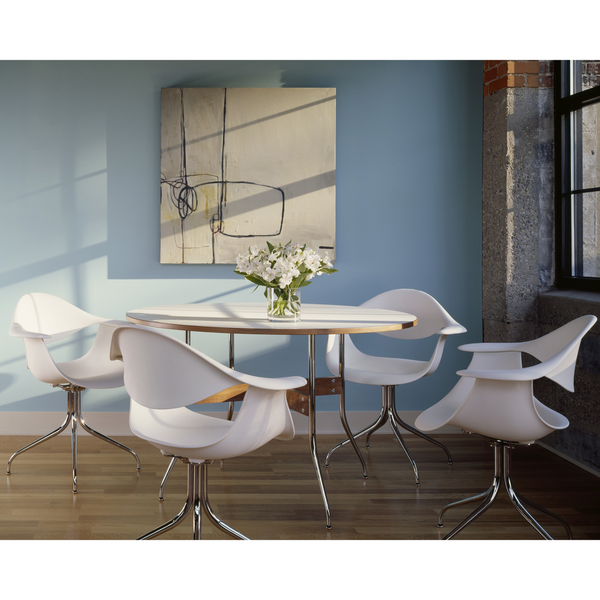 Herman Miller - Nelson™ Swag Leg Dining Table Round - White Laminate Top / One Size - Lekker Home