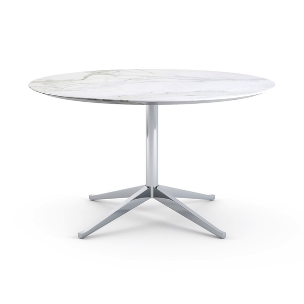 Knoll - Florence Knoll Table Desk Round - Carrara Satin Marble / One Size - Lekker Home