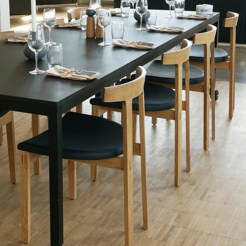 Bensen - Torii Dining Chair - Black House Leather / Walnut - Lekker Home