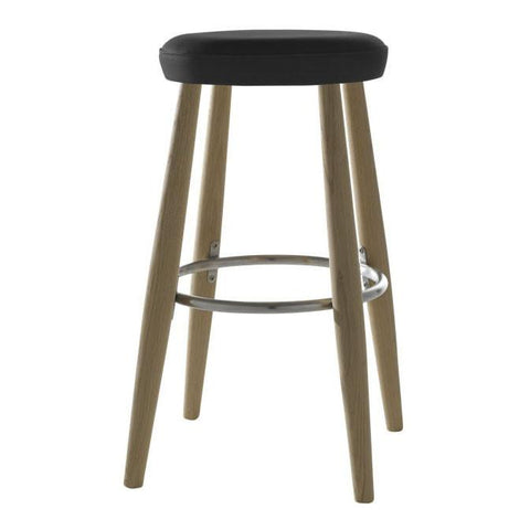 Carl Hansen - CH56 Bar Stool - Oak Soap / Thor Leather Black - Lekker Home