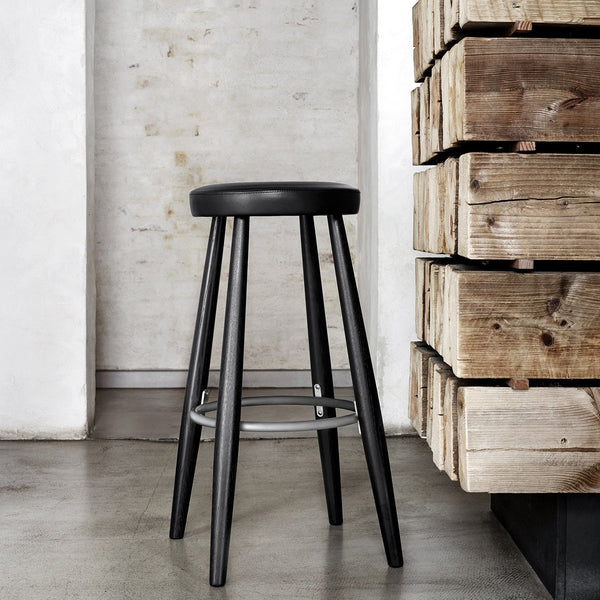 Carl Hansen - CH56 Bar Stool - Oak Painted Black / Thor Leather Black - Lekker Home