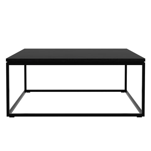 "Ethnicraft NV - Thin Coffee Table - Blackstone Oak/Black Powder-Coated Steel / 27"" Square - Lekker Home"