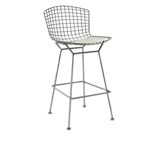 Knoll - Bertoia Counter Stool - White Vinyl / Polished Chrome - Lekker Home