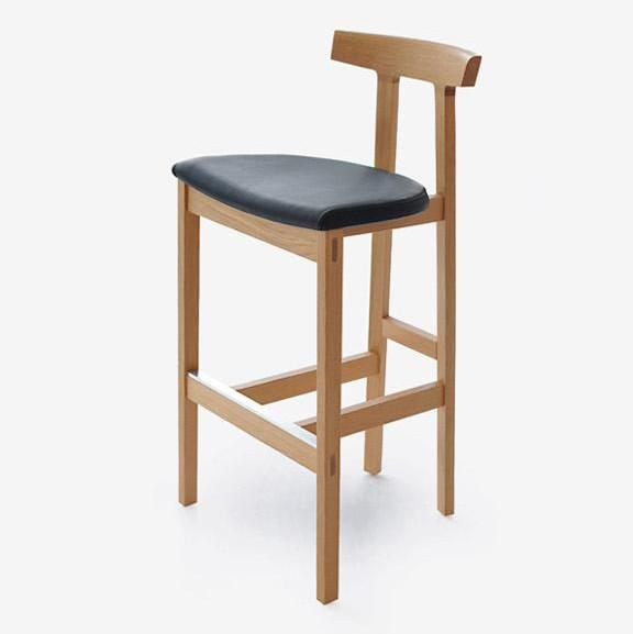 Bensen - Torii Barstool - Black House Leather / White Oak - Lekker Home