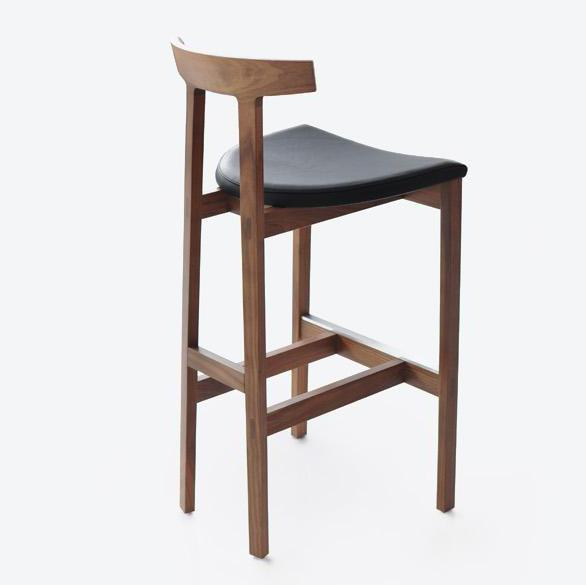 Bensen - Torii Barstool - Black House Leather / Walnut - Lekker Home