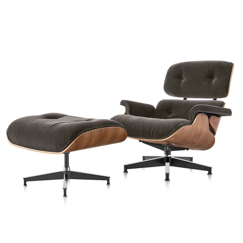 Eames® Lounge Chair and Ottoman in Mohair Supreme