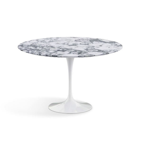 "Knoll - Saarinen Dining Table 47"" Round - Arabescato Satin Marble / White - Lekker Home"
