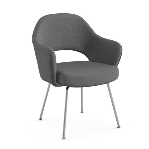 Knoll - Saarinen Executive Arm Chair - Polished Chrome / Classic Boucle Pumpernickel - Lekker Home