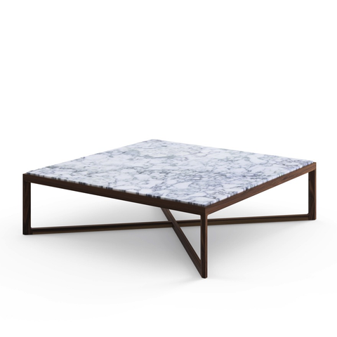 Knoll - Krusin Square Coffee Table - Clear Glass / Ebonized Oak - Lekker Home