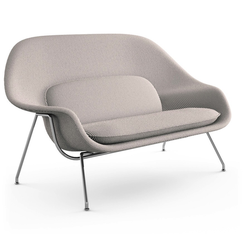 Knoll - Womb Settee - Classic Boucle Pumpernickel / Polished Chrome - Lekker Home