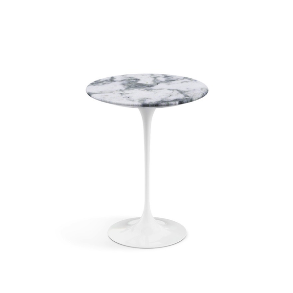 "Knoll - Saarinen Side Table 16"" Round - Arabescato Satin Marble / White - Lekker Home"