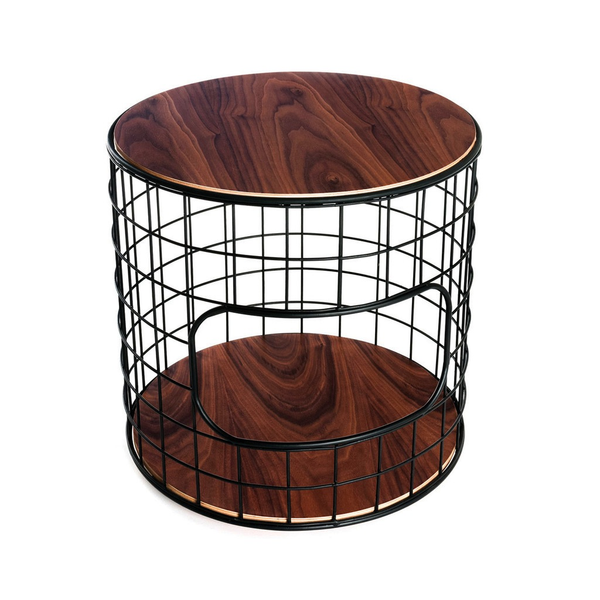 Gus Modern - Wireframe End Table - Black + Walnut / One Size - Lekker Home