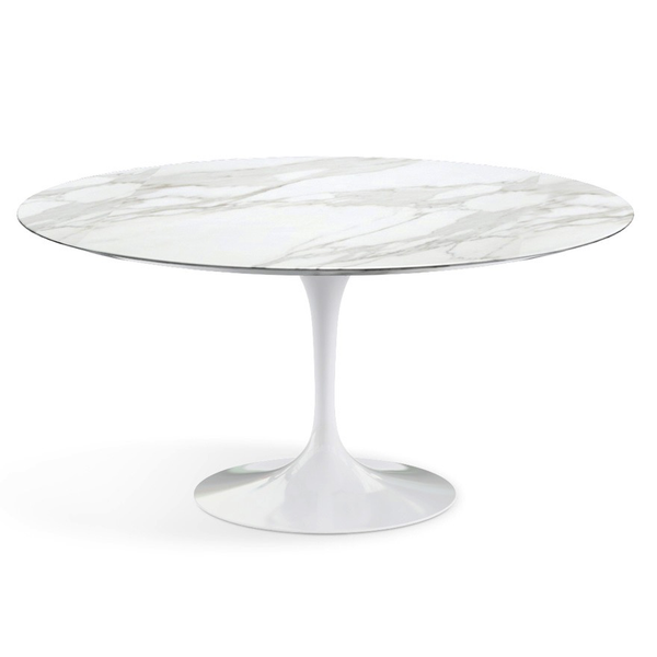 "Knoll - Saarinen Dining Table 60"" Round - Carrara Satin Marble / White - Lekker Home"