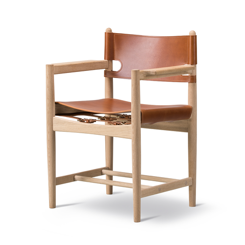 Fredericia - The Spanish Dining Armchair - Cognac Leather / Soap Oak - Lekker Home