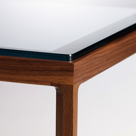 Knoll - Krusin End Table - Clear Glass / Ebonized Oak - Lekker Home