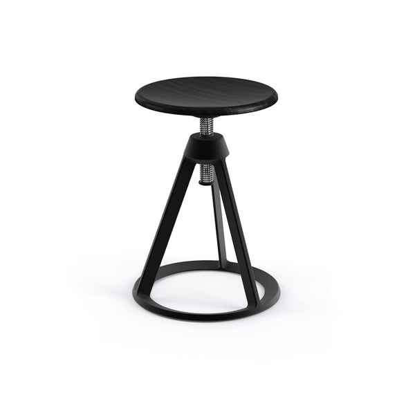 Knoll - Piton™ Adjustable Height Stool - Jet Black / Ebonized Ash - Lekker Home