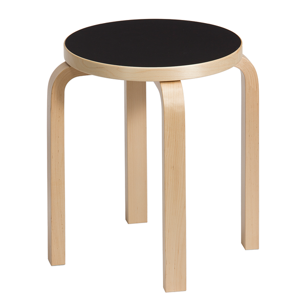 Artek - Stool E60 - Natural Lacquered / Black Linoleum - Lekker Home