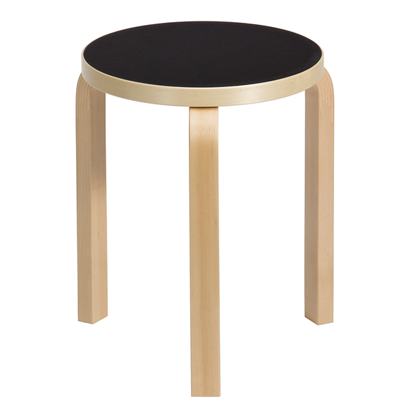 Artek - Stool 60 - Natural Lacquered / Black Linoleum - Lekker Home