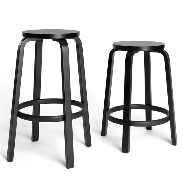 Artek - Stool 64 - Black Lacquered Seat + Legs / Counter Height - Lekker Home