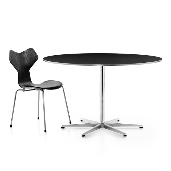 Fritz Hansen - Grand Prix™ Dining Chair - Black Colored Ash / Chromed Base - Lekker Home