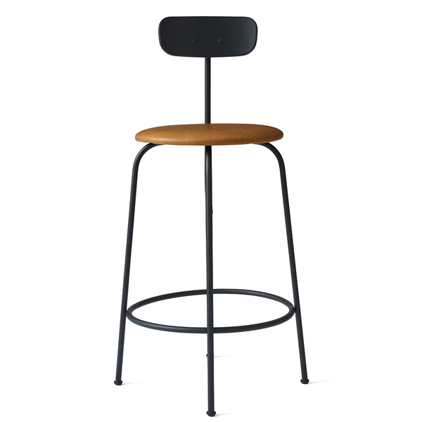Menu A/S - Afteroom Counter Stool - Black / Cognac Leather - Lekker Home