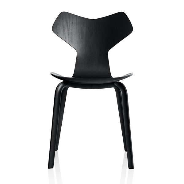Fritz Hansen - Grand Prix™ Dining Chair - Black Colored Ash / Wooden Legs - Lekker Home