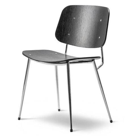 Fredericia - Søborg Chair - Steel Frame - Black Lacquered Oak / Chrome - Lekker Home